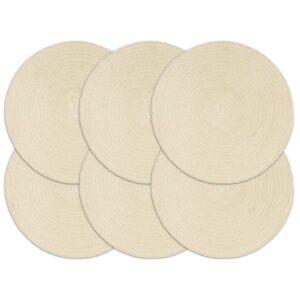 Individuais de mesa 6 pcs em algodão liso 38 cm redondo natural  - PORTES GRÁTIS