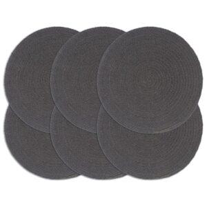 Individuais mesa 6 pcs algodão liso 38 cm redondo cinza-escuro  - PORTES GRÁTIS