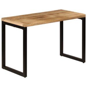 Mesa de jantar 115x55x76 cm madeira de mangueira maciça e aço - PORTES GRÁTIS
