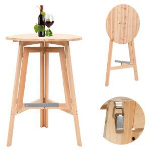 Mesa de bar dobrável 78 cm madeira de abeto - PORTES GRÁTIS