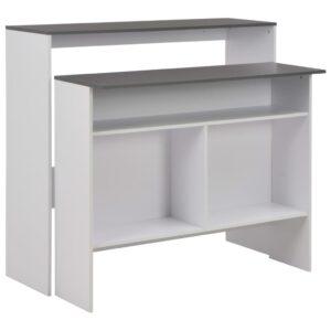 Mesa de bar com 2 tampos branco 130x40x120 cm - PORTES GRÁTIS