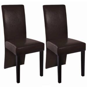 Cadeiras de jantar 2 pcs couro artificial castanho escuro  - PORTES GRÁTIS