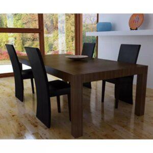Cadeiras de jantar 4 pcs couro artificial preto - PORTES GRÁTIS