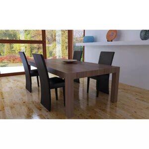 Cadeiras de jantar 4 pcs couro artificial castanho-escuro - PORTES GRÁTIS