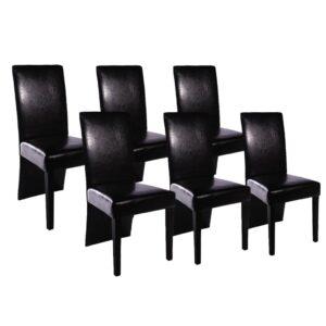 Cadeiras de jantar 6 pcs couro artificial preto - PORTES GRÁTIS