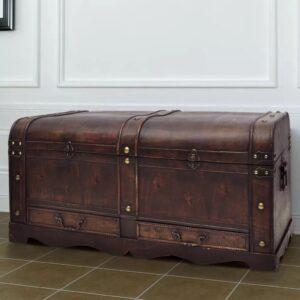 Cofre clássico de tesouro feito de madeira - mesa de café castanha - PORTES GRÁTIS