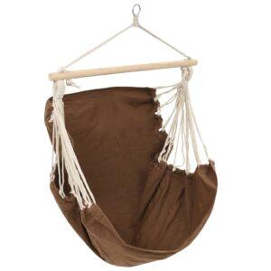 Cadeira de baloiço/rede grande, tecido, castanho - PORTES GRÁTIS