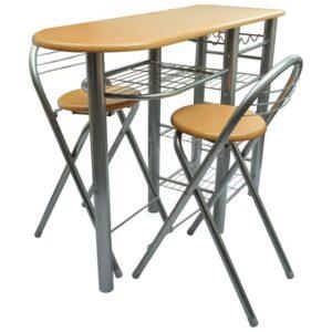 Conjunto de mesa alta de bar/cozinha com bancos em madeira com metal - PORTES GRÁTIS