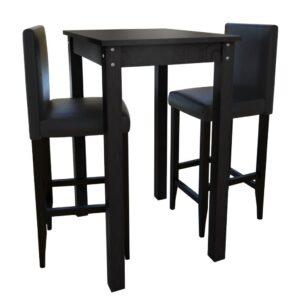 Mesa de bar com 2 cadeiras de bar, preto - PORTES GRÁTIS