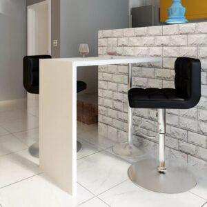 Mesa de bar em MDF com 1 perna de aço, branco brilhante  - PORTES GRÁTIS