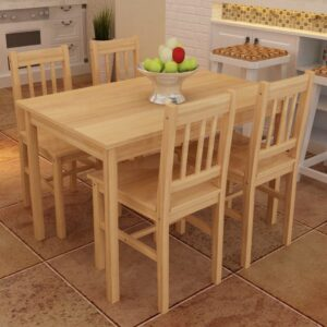 Conjunto Mesa com 4 Cadeiras / Madeira  - PORTES GRÁTIS
