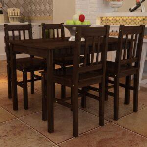Conjunto Mesa com 4 Cadeiras / Madeira - Marrom - PORTES GRÁTIS