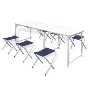 Conjunto de mesa dobrável, para campismo com 6 bancos ajustáveis - PORTES GRÁTIS