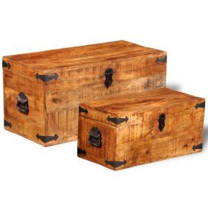 Conjunto de 2 cofres armazenamento de madeira de mango  - PORTES GRÁTIS