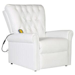 Cadeira de massagens couro artificial branco - PORTES GRÁTIS