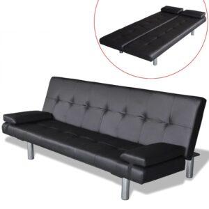 Sofa-cama ajustável com 2 almofadas couro artificial preto  - PORTES GRÁTIS