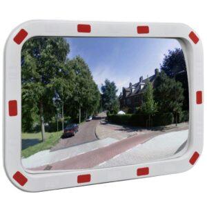 Espelho retrovisor convexo retangular 40 x 60 cm com refletores - PORTES GRÁTIS