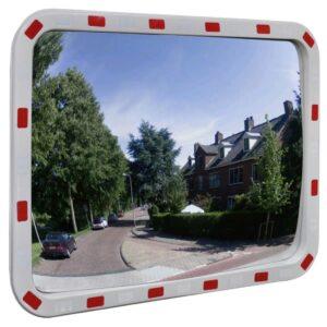Espelho retrovisor convexo retangular 60 x 80 cm com refletores - PORTES GRÁTIS