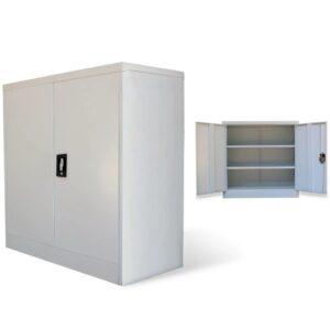 Armário de escritório com 2 portas 90 cm aço cinzento - PORTES GRÁTIS