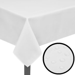Toalhas de mesa 5 pcs 220 x 130 cm branco  - PORTES GRÁTIS