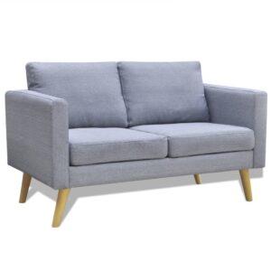 Sofá de 2 lugares em tecido cinzento claro  - PORTES GRÁTIS