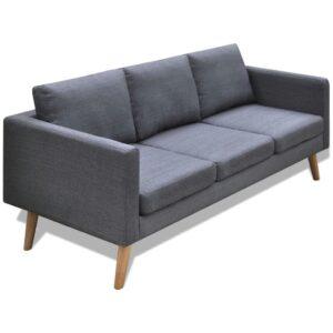 Sofá de 3 lugares tecido cinzento escuro  - PORTES GRÁTIS