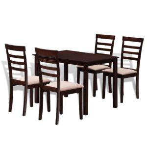Conjunto de jantar, 1 mesa de madeira com 2 cadeiras, castanho/creme - PORTES GRÁTIS