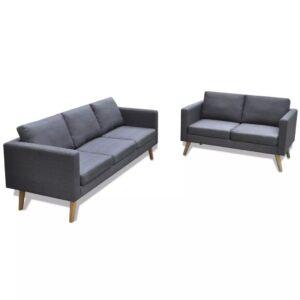 Conjunto de sofás de 2 lugares e 3 lugares tecido cinza escuro  - PORTES GRÁTIS