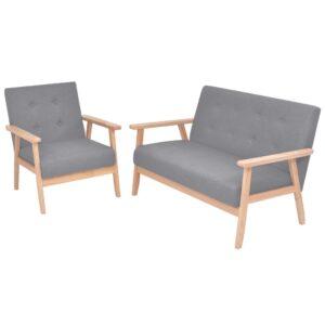 Conjunto de sofás 2 pcs tecido cinzento claro  - PORTES GRÁTIS