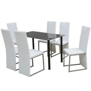 Conjunto de jantar 7 pcs branco e preto - PORTES GRÁTIS