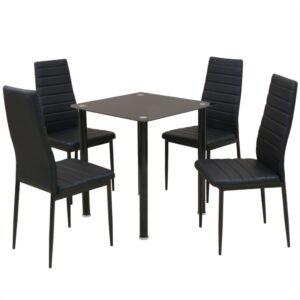 Conjunto 5 pcs de mesa de jantar e cadeiras preto - PORTES GRÁTIS