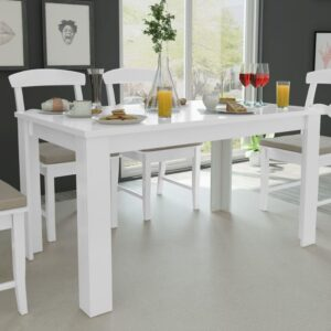 Mesa de jantar 140 x 80 x 75 cm branco - PORTES GRÁTIS