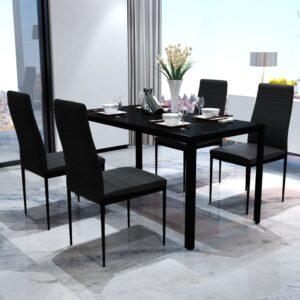 Conjunto mesa de jantar 5 pcs preto - PORTES GRÁTIS