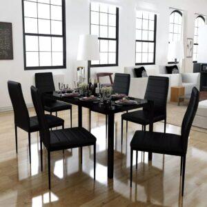 Conjunto mesa de jantar 7 pcs preto - PORTES GRÁTIS