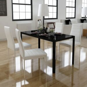 Conjunto mesa de jantar 5 pcs preto e branco - PORTES GRÁTIS
