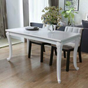 Mesa de jantar 116x66x76 cm branco brilhante - PORTES GRÁTIS
