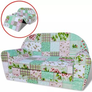 Poltrona desdobrável para crianças com padrão floral - PORTES GRÁTIS