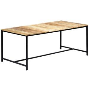 Mesa de jantar 180x90x75 cm madeira de mangueira maciça áspera - PORTES GRÁTIS