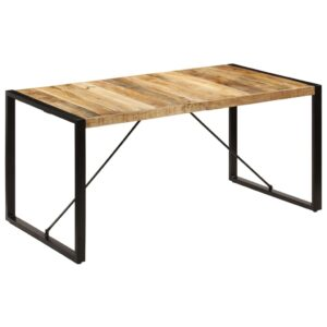 Mesa de jantar 160x80x75 cm madeira de mangueira maciça - PORTES GRÁTIS
