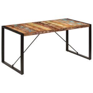 Mesa de jantar 160x80x75 cm madeira recuperada maciça - PORTES GRÁTIS