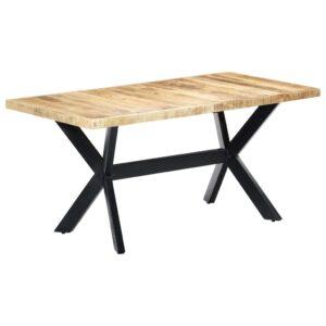 Mesa de jantar 160x80x75 cm madeira de mangueira áspera maciça - PORTES GRÁTIS