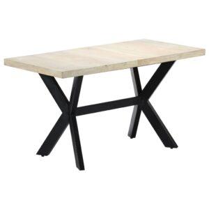 Mesa de jantar 140x70x75cm madeira mangueira maciça  branqueada  - PORTES GRÁTIS