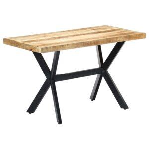 Mesa de jantar 120x60x75 cm madeira de mangueira maciça áspera - PORTES GRÁTIS