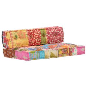 Almofadão para sofá de paletes multicor tecido retalhos - PORTES GRÁTIS