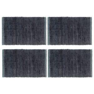 Individual de mesa 4 pcs chindi algodão liso 30x45 cm antracite - PORTES GRÁTIS
