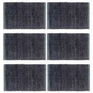 Individual de mesa 6 pcs chindi algodão liso 30x45 cm antracite - PORTES GRÁTIS