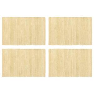 Individual de mesa 4 pcs chindi algodão liso 30x45 cm bege - PORTES GRÁTIS