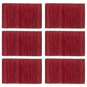 Individual de mesa 6 pcs chindi algodão liso 30x45 cm bordô - PORTES GRÁTIS