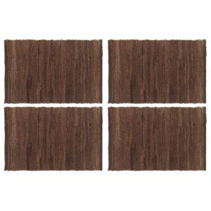 Individual de mesa 4 pcs chindi algodão liso 30x45 cm castanho - PORTES GRÁTIS