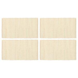 Individual de mesa 4 pcs chindi algodão liso 30x45 cm creme - PORTES GRÁTIS